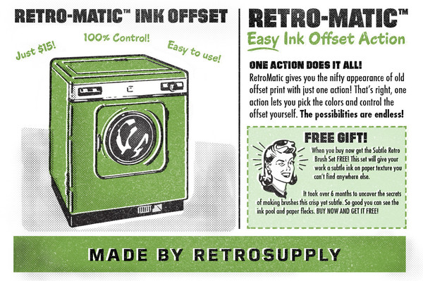 Filmotype fonts on Retromatic cover from RetroSupply